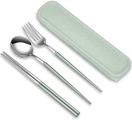 BESTONZON 3 piezas de Acero inoxidable tenedor cuchara y palillos cubiertos de viaje camping conjunto con estuche (color al azar): Amazon.es: Hogar