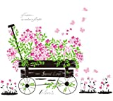 Wallmates Home Decor Mural Vinyl Wall Sticker Sweet Love Car Full of Colorful Flowers Kids Nursery Room Wall Art Decal Paper