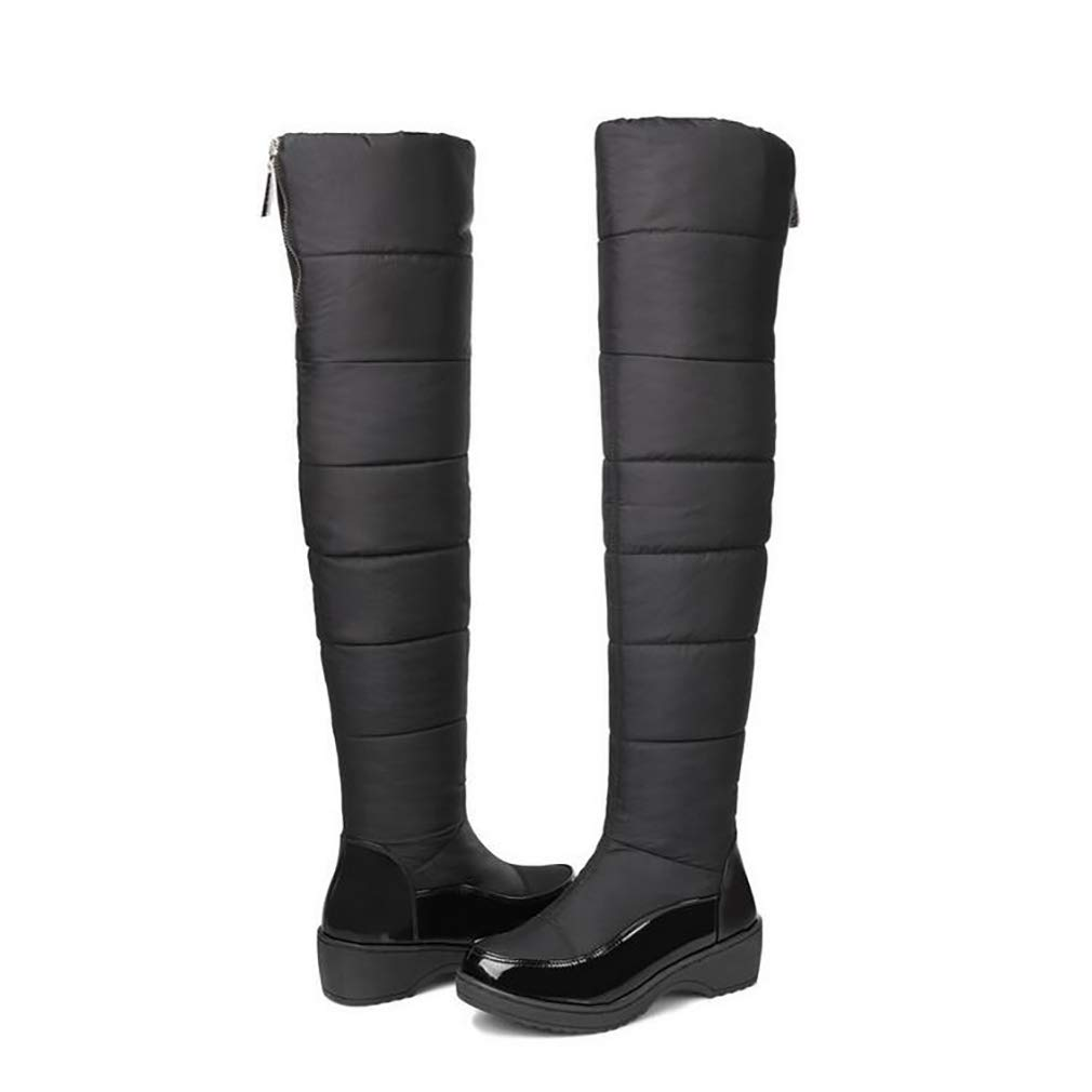 Hy Damenschuhe LARtifical PU Winter Comfort Snow Stiefel Stiefel/Overknee Flat Stiefel/Damen Casual Flat Stiefel/Overknee Plus Kaschmir/Warm High Stiefel Blau/Schwarz (Farbe : Schwarz, Größe : 43) - 4f8dbc