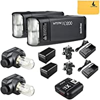 GODOX AD200 TTL 2.4G HSS 1/8000s 2Pcs Pocket Flash Light Double Head 200Ws with 2900mAh Lithium Battery Flashlight Flash Lightning+GODOX X1T-S Wireless Flash Trigger Transmitter for Sony DSLR Cameras