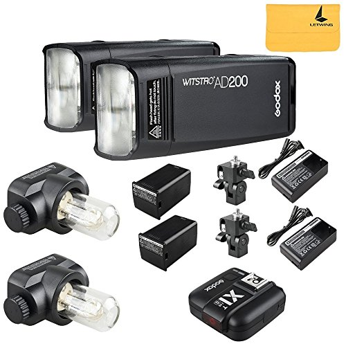 GODOX AD200 TTL 2.4G HSS 1/8000s 2Pcs Pocket Flash Light Double Head 200Ws with 2900mAh Lithium Battery+GODOX X1T-S Wireless Flash Trigger Transmitter Compatible for Sony Camera