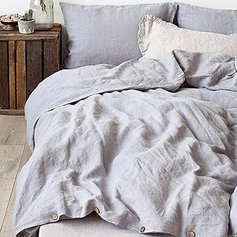 coconut buttons bedding set linen duvet cover set king grey