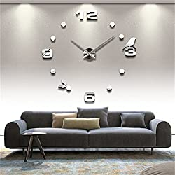 3D Wall Clock DIY Large Sticker Modern Frameless Home Decor Silver Mirror For Bedroom Living Room Office Kitchen Bar Number Birdie Clock Plate