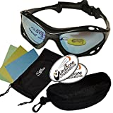 SeaSpecs Classic Black Mirage Specs Mirror Water Sports Floating Sunglasses w Semi Rigid Case Bundle (5 Items) + Flex Clip Case +Soft Carry Pouch +Lens Cloth +WindBone Kiteboarding Lifestyle Stickers