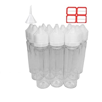 12 pcs x 60 ml plástico botellas de cigarrillos electrónico Dispensador de líquidos de unicornio transparente