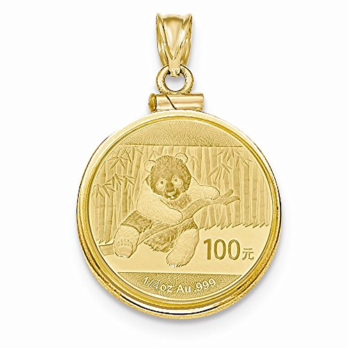 FB Jewels 14K Yellow Gold 1/4 Oz Mounted Panda Coin Screw Top Coin Bezel Pendant ()