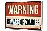 Tin Sign XXL metal plate plaque Nostalgic Beware of Zombies