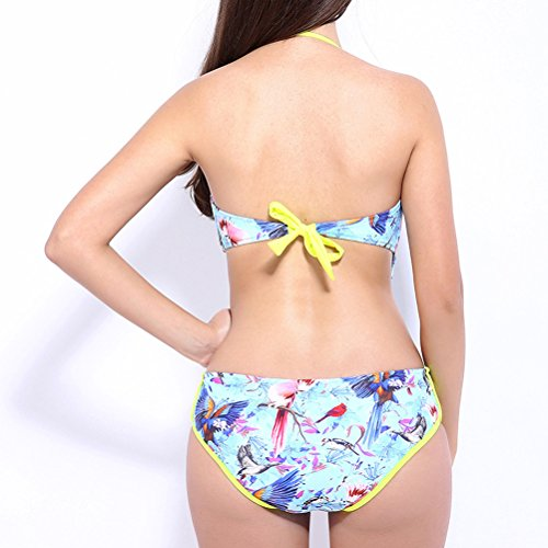 Laixing Women's Ladies Traje de baño Tummy Control Swimming Costume Halter Swimwear 6621 Green