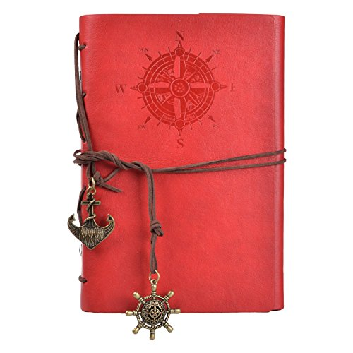 Vintage Leather Cover Journal Diary String Nautical (Red) - 3