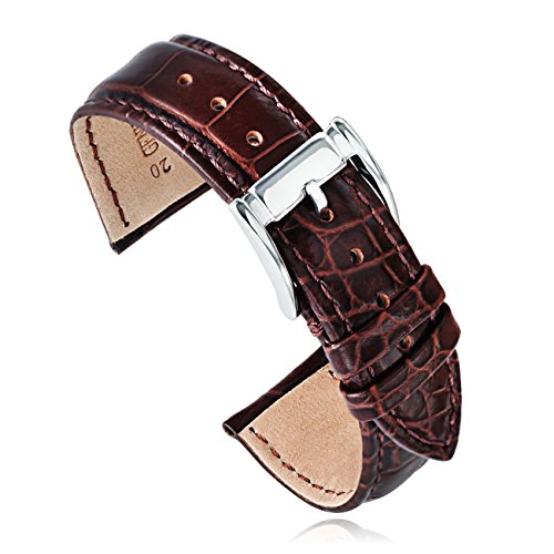 Brown Calfskin Mens Strap - 20mm Brown Crocodile-Embossed Calfskin Leather Watch Straps Bands Replacement for Men Watches (20brsl) …