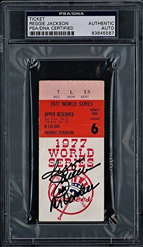 Reggie Jackson Signed Autograph Game 6 1977 World Series Ticket 3 Hr Game Yankees PSA/DNA Certified
