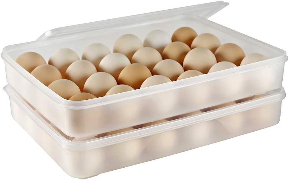 Eslite Covered Egg Holder,Egg Container for 24 Eggs - Clear (Pack of 2)