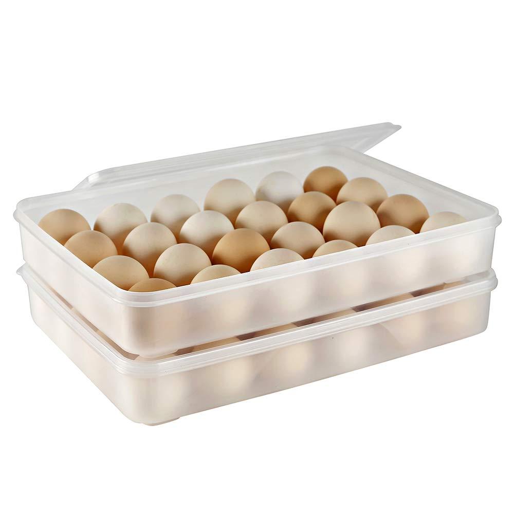 Eslite Covered Egg Holder,Egg Container for 24 Eggs - Clear (Pack of 2)