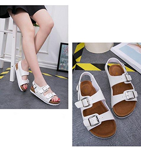 Liège de Boucles Adulte Confort avec Réglables Plage Unisexe Deux Blanc Chaussures Sandales wE7Tgx1nq1