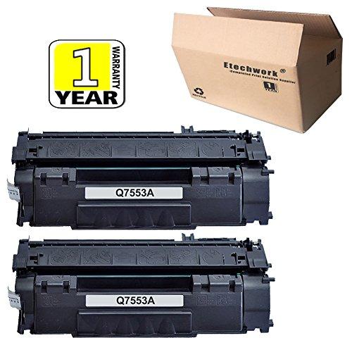 Etechwork 2 Pack 53A Q7553A Toner Cartridge Black Compatible for LaserJet 1320, 1320n, 3390, 3392, P2014, P2015, P2015d, P2015dn, P2015n,M2727 M2727nf MFP 53a Laser