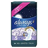 ALWAYS Ultra Thin Size 5 Extra Heavy Overnight Pads With Wings Unscented, 34 Count