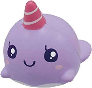 ibloom Roxie The Whale Cute Animal Slow Rising Squishy Toy (Purple, Grape Scented, 2.8 Inch) [Kawaii Squishies for Birthday Gift Boxes, Party Favors, Stress Balls for Kids, Girls, Boys, Adults]
