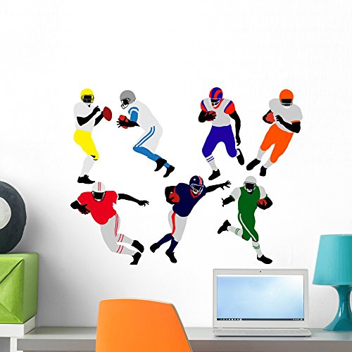 (Wallmonkeys American Football Players Silhouette Wall Decal Peel and Stick Graphic WM71417 (24 in W x 18 in H))