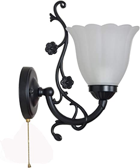 Wall Lamp With Pull Chain Switch E27 Simple Led Living Room Staircase Balcony Wall Sconces Bedroom Bed Lamp Glass Lampshade Amazon Com