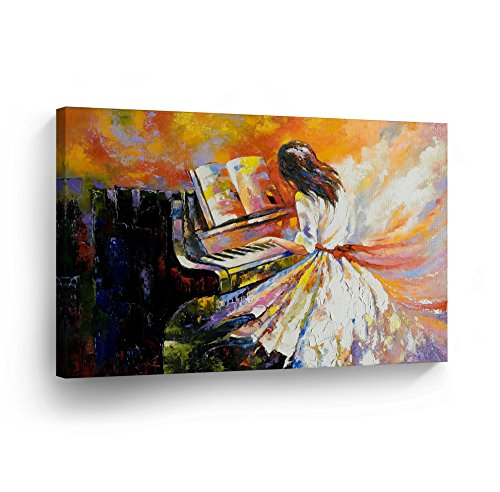 Decorative Wall Art Modern Oil Paint Canvas Print Girl Playing Piano Wall Décor Artwork Wrapped Wood Stretcher Bars - horizontal - Ready to Hang - %100 Handmade in the USA