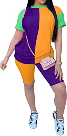 Women/'s Outdoor Sport Long Sleeve Tops Skinny Shorts Outfits 2 Pieces Sets