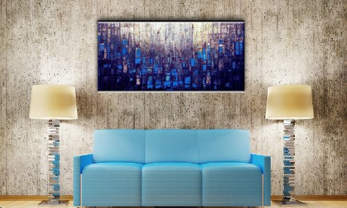 Matthew's Art Gallery 30-Inch-by-60-Inch Abstract Canvas Oil Painting - Blue by Matthew's Art Gallery