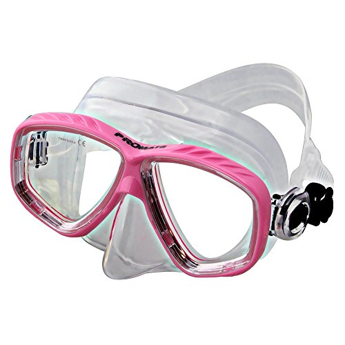 Different Nearsight Optical Corrective Lenses on Each Side Snorkel Mask, Pink