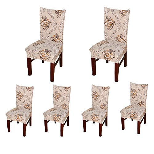 SoulFeel 6 x Soft Spandex Fit Stretch Short Dining Room Chair Covers with Printed Pattern, Banquet Chair Seat Protector Slipcover for Home Party Hotel Wedding Ceremony (Style 22) (Dining Room Arm Chair Covers)