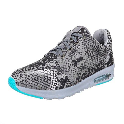 Ital-Design Sportschuhe Damen Schuhe Geschlossen Sneakers Schnürsenkel Freizeitschuhe Grau 15-H52285B-