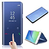 Smart Case for Huawei P10, CrazyLemon Date Time Clear View Mirror Bright Standing Flip Cover with Kickstand Wake Up and Sleep Function Smart Cover Case for Huawei P10 - Blue
