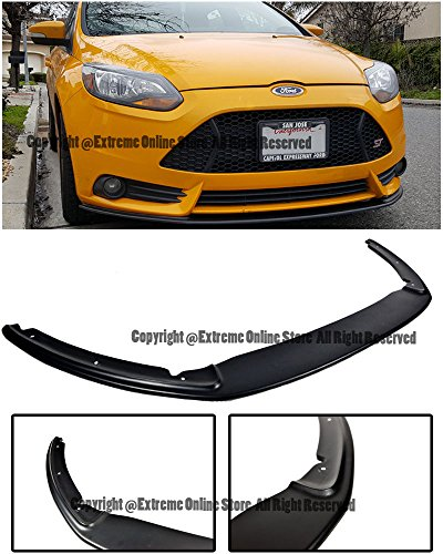 Extreme Online Store For 12-14 Ford Focus ST MK3 Front Bumper Add On Bottom Line FiberGlass Unpainted Black Lower Lip Kit Splitter Spoiler Wing 2012 2013 2014 12 13 14 (Front Lip Fiberglass)