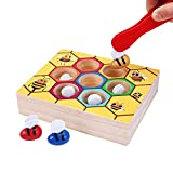 Toddler Bee Hive Preschool Wooden Toys,Miya Bee Game Toy Motor Skills Toys for Kid Baby Early Educational Learning Colors and Sorting Counting Montessori Game Colorful Beehive Toys Fun Gift for Boys