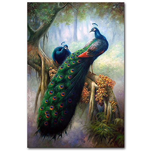 ck Feather Canvas Art Print Painting Modern Green Animal Wall Picture Home Artwork For Living Room Decor Ready to Hang 1 Pcs (24x36inch(60x90cm)) (Peacock Feathers Canvas)