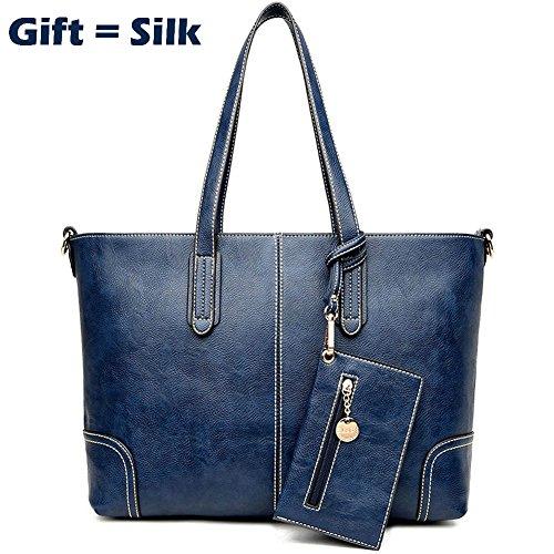 Women's Purses and Handbags Stylish Ladies Designer Satchel Top-handle Tote Shoulder Bags,QUEENTOO(C-Blue)