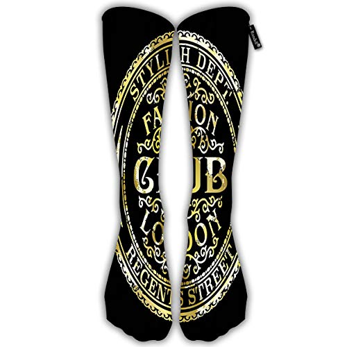 Unisex Classic Knee High Over Calf Regents Street London Fashion Club Vintage Gold Foil Woman Wear Grunge 3D Print Athletic Soccer Tube Cool Fun Party Cosplay Socks