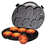 SpeedTech Lights 6 Pack of Rechargeable 16 LED Red Disc Warning Beacon Emergency Road Flares for The Car, Truck, Bike, RV Vehicles - Roadside Emergency Kit w/Charger & Carrying Case Included - Safety