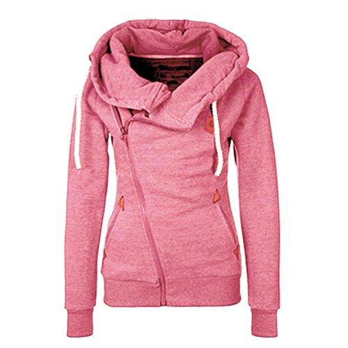 Daysoft Women Full Zip Up Fleece Hoodie, Fashion Sweater /Sweatshirt Jacket (M, pink) (Hoodie Pink Women)