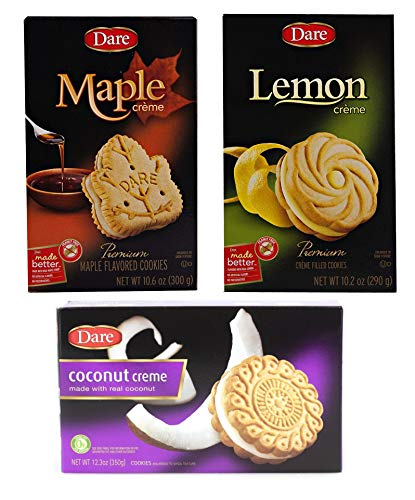 Dare Foods Maple Leaf, Lemon and Coconut Creme Cookies, 10.2-10.6 ounces -