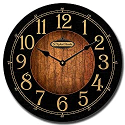Black & Wood Wall Clock, Available in 8 Sizes, Most Sizes Ship 2-3 Days,