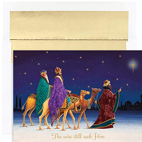 Card Kings Three Holiday (Masterpiece Studios Holiday Collection 18 Cards / 18 Foil Lined Envelopes, Three Kings)