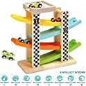 Wooden Ramp Racer Race Track Vehicle Playsets For Toddler