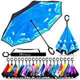 Fidus Double Layer Inverted Reverse Umbrella, Winproof Waterproof Folding UV Protection Self Stand Upside Down Large Car Rain Golf Outdoor Rain Umbrella with C-Shaped Handle for Men Women(Sky Blue)