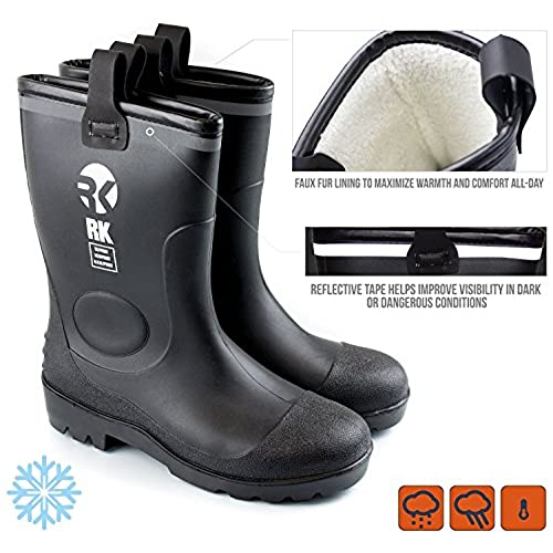 Mens Insulated Waterproof Fur Interior Rubber Sole Winter