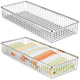 mDesign Metal Farmhouse Kitchen Cabinet Drawer Organizer Tray - Storage Basket for Cutlery, Serving Spoons, Cooking Utensils, Gadgets - 15' Long, 2 Pack - Chrome