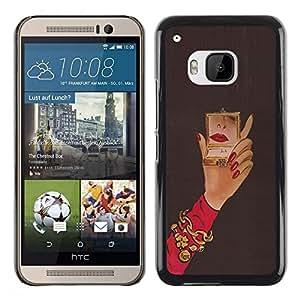 FECELL CITY // Duro Aluminio Pegatina PC Caso decorativo Funda Carcasa de Protección para HTC One M9 // Michael Mirror Woman Red Nails Hand