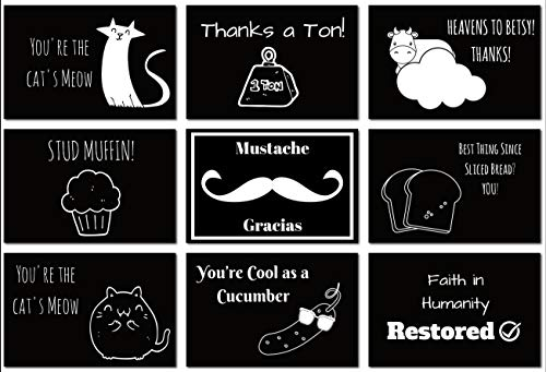 Thank You Card Pack of 52 (with Envelopes) by Eat That Frog | Cute and Funny Designs To Make Them Laugh | Great for Graduation, Wedding, Holidays, Etc. | By Eat That Frog