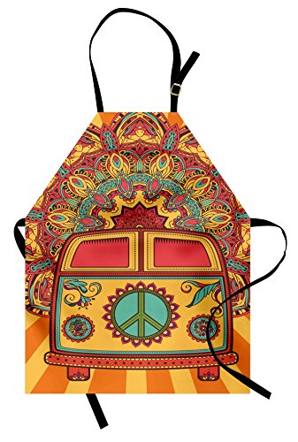 Unique 70s Costume Ideas (Ambesonne 70s Party Apron, Hippie Vintage Mini Van Ornamental Backdrop with Peace Sign Artwork, Unisex Kitchen Bib with Adjustable Neck for Cooking Gardening, Adult Size, Coral)