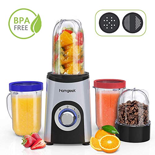 Homgeek Smoothie Blender, Multifunctional Blender 22000 RPM, 4 Cups, 13...