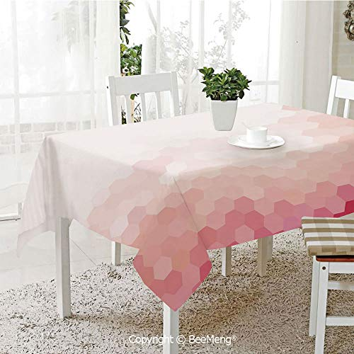 BeeMeng Large dustproof Waterproof Tablecloth,Family Table Decoration,Light Pink,Gradient Toned Geometric Digital Abstract Hexagon Modern Display Decorative,White Coral Peach Magenta,70 x 104 inches