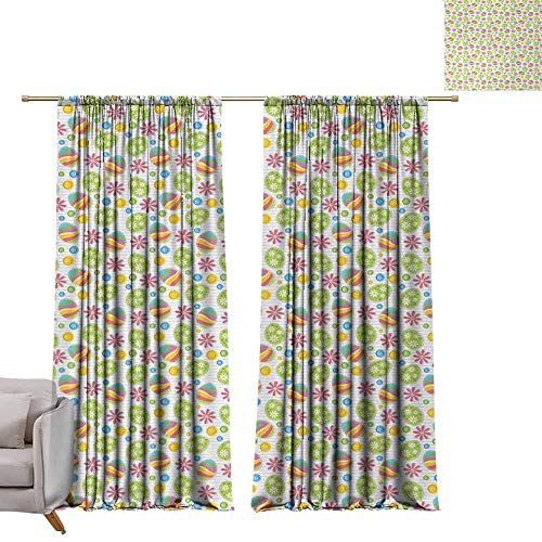Greige Button - DuckBaby Kids Room Curtains Easter Patchwork Style Graphic Scrapbook Pattern with Daisy Sewing Buttons and Egg Figures Simple Style W96 xL84 Multicolor